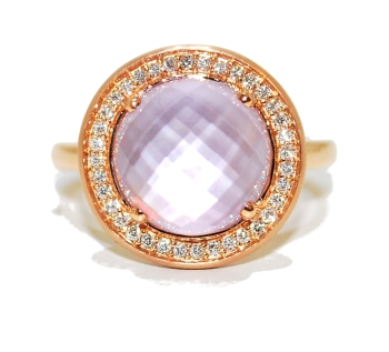 Amethyst Gemstone and Diamond Ring set in Rose Gold