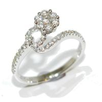 Diamond Flower loop encrusted engagement ring