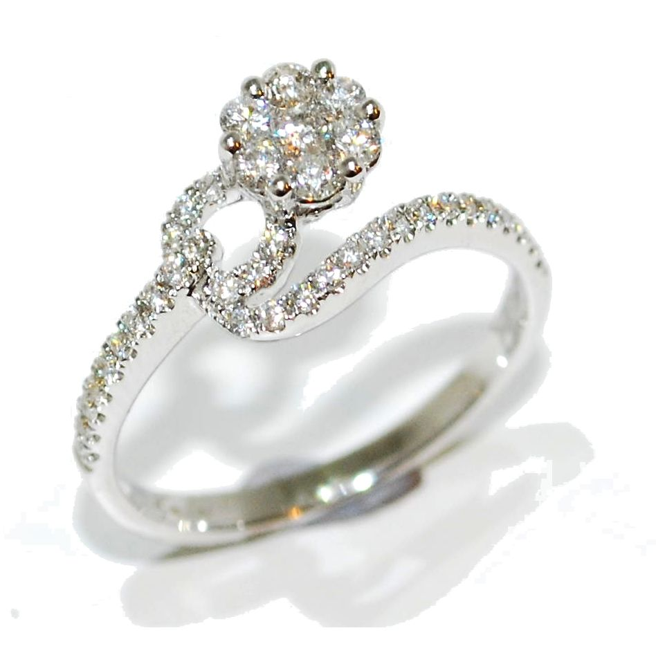 Diamond loop encrusted flower engagement ring
