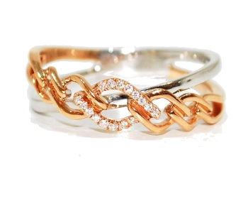 Rose Gold Diamond Plait Eternity Ring
