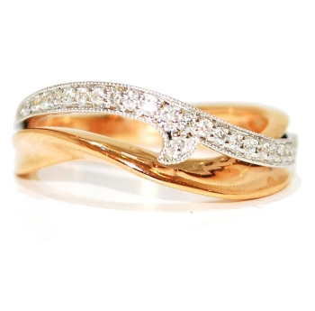 Rose Gold Diamond Wave Unusual Eternity Ring