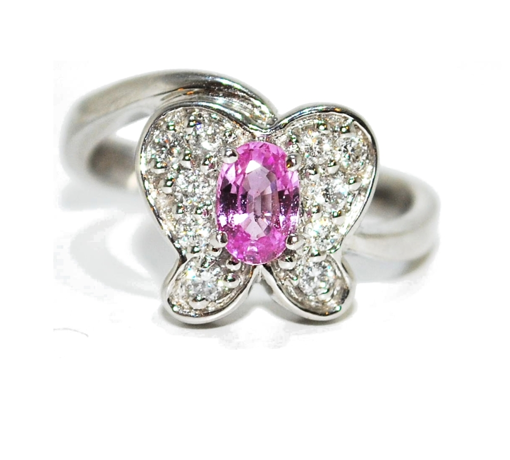 Quirky Pink Sapphire and Diamond Gemstone Butterfly Engagement Ring