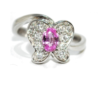 Quirky Pink Sapphire and Diamond Butterfly Ring