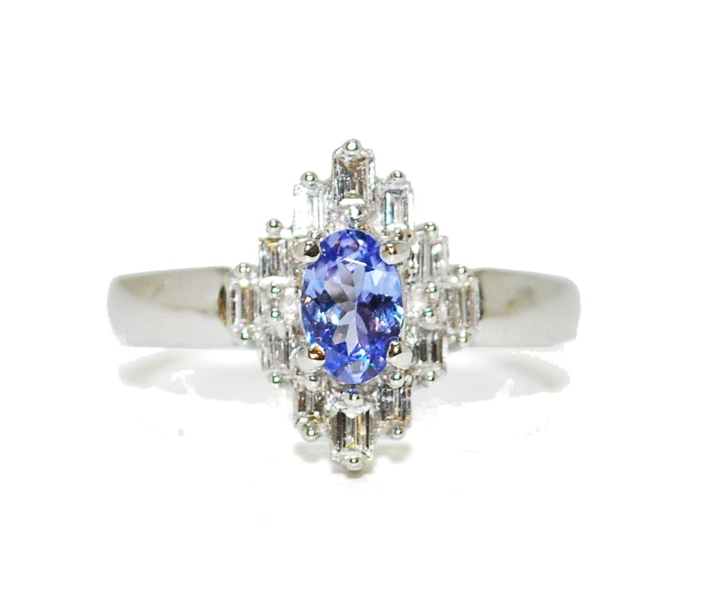 Diamond and tanzanite gemstone baguette vintage style engagement ring