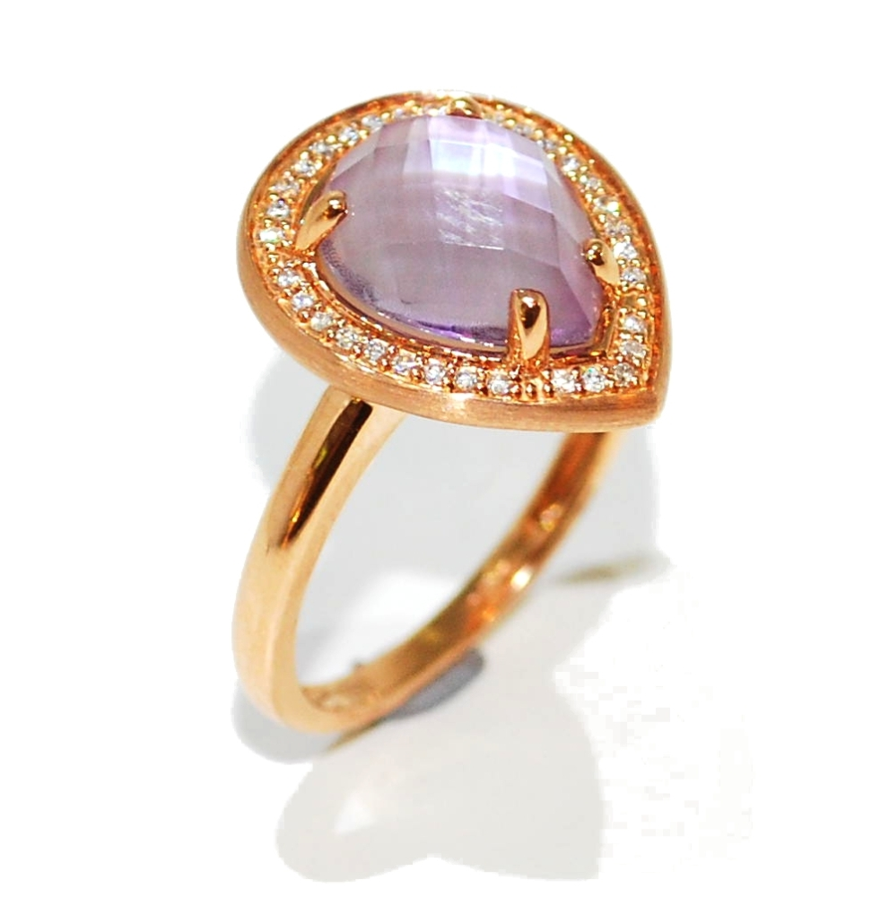 Rose gold, amethyst and diamond gemstone engagement ring
