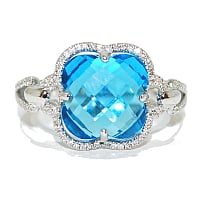 blue topaz gemstone and diamond engagement rings, blue gemstone unusual and contemporaray design