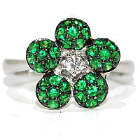 unusual and quirky engagement ring, green garnet gemstone flower and diamond