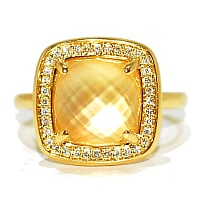 cushion cut citrine gemstone and diamond engagement ring set in yellow gold