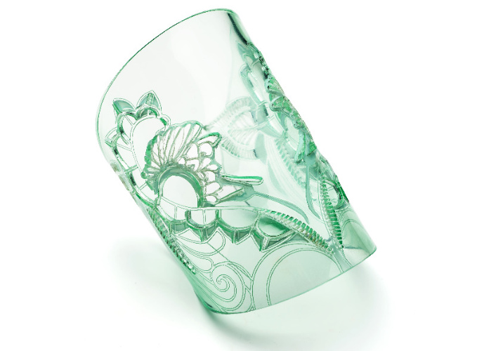 5 - glass green acrylic wrist cuff