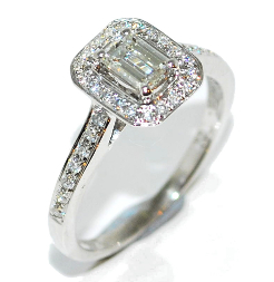emerald cut contemporary and vintage diamond engagement ring