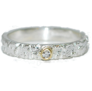 unusual textured silver, gold and diamond ring