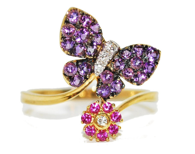 amethyst sapphire and diamond butterfly ring unusual engagement rings