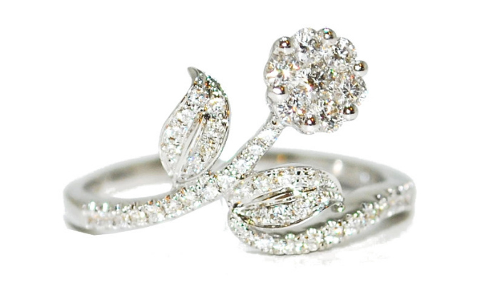 quirky diamond flower engagement ring