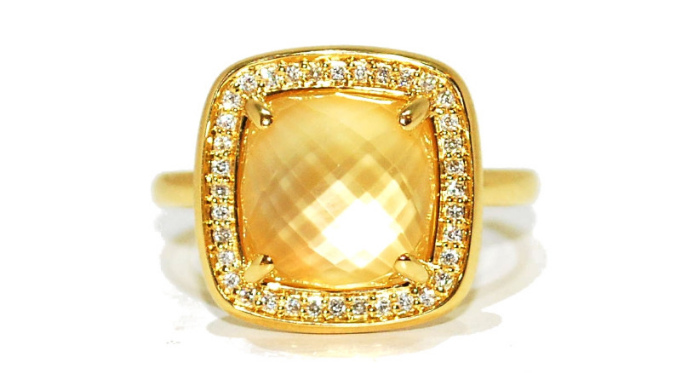 square citrine unusual engagement ring