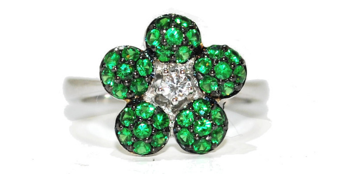 green garnet and diamond flower unusual engagement ring