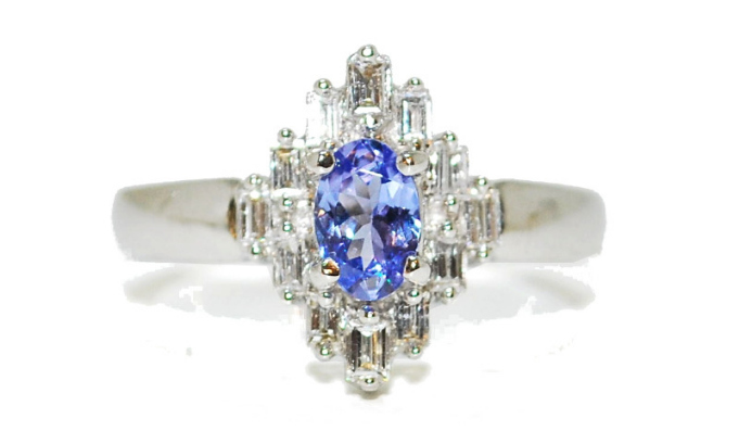 diamond and tanzanite baguette engagement ring