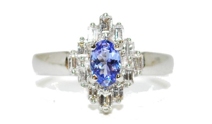 diamond and tanzanite baguette engagement ring