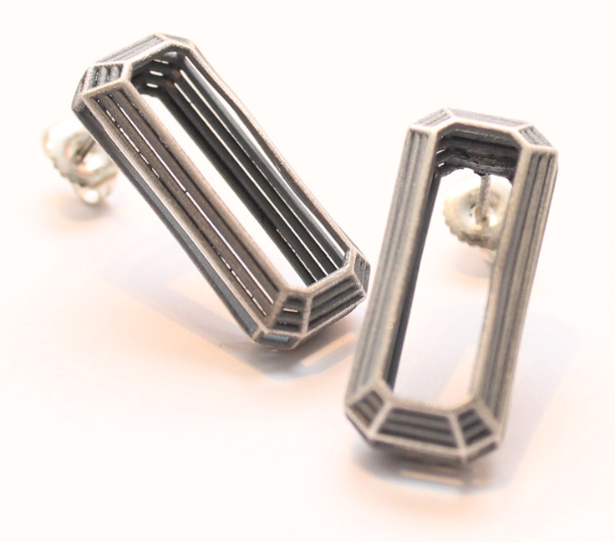 emerald cut shaped oxidised silver earrings