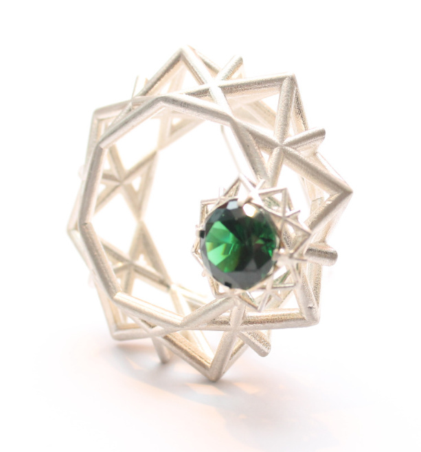 green crystal geometric silver brooch