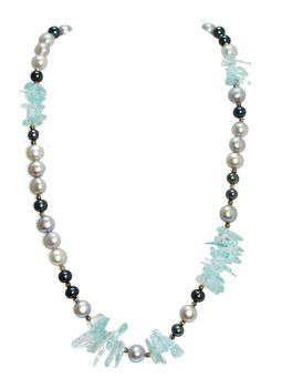 Icey Aquamarine and Pearl Necklace