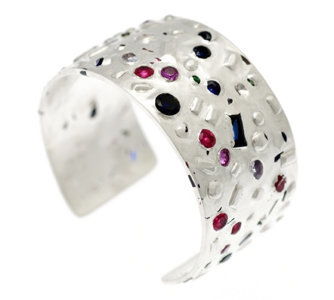 Unique handmade gemstone encrusted silver cuff