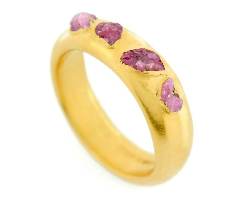 crystal ring - 22ct gold plated silver with raw ruby crystals