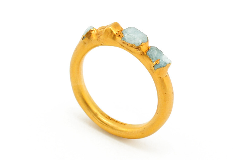 crystal ring - 22ct gold plated silver with raw aquamarine crystals