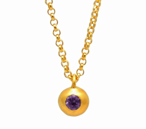 handmade unique amethyst gold ball gemstone pendant