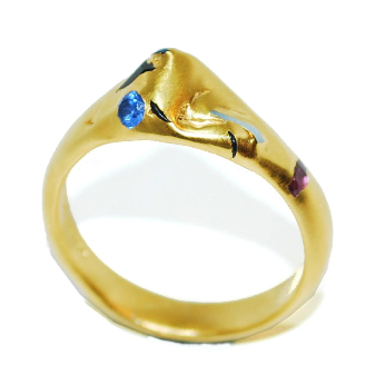 aquamarines and sapphires encursted into an unusual gemstone engagment ring, handmade and unique