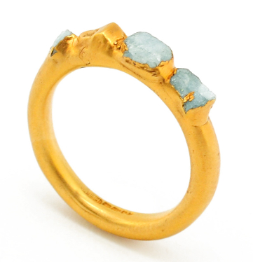 raw aquamarine gemstones, unusual and unique engagement ring by designer Mabel Hasell