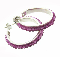 Gemstone Swiss Crystal Silver Hoops