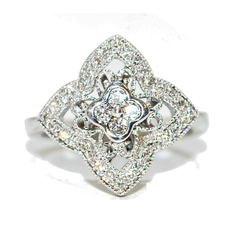 geo flower engagement ring