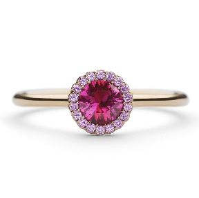 Cannele Bridal Rose Ruby and Sapphire Designer Engagement Ring by Andrew Geoghegan