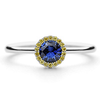 white gold canele designer engagement ring by Andrew Geoghegan, blue sapphire with yellow diamonds