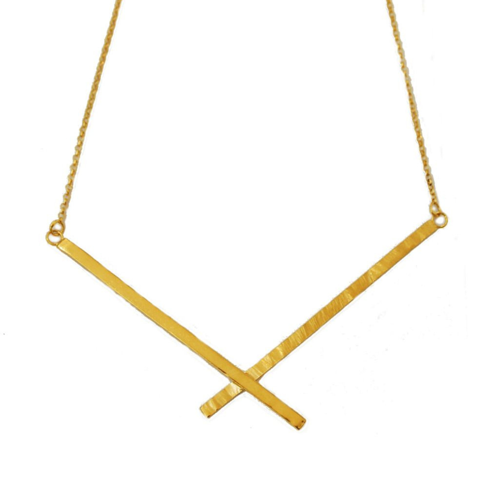 Quirky and Unusual Handmade Gold Abstract Necklace