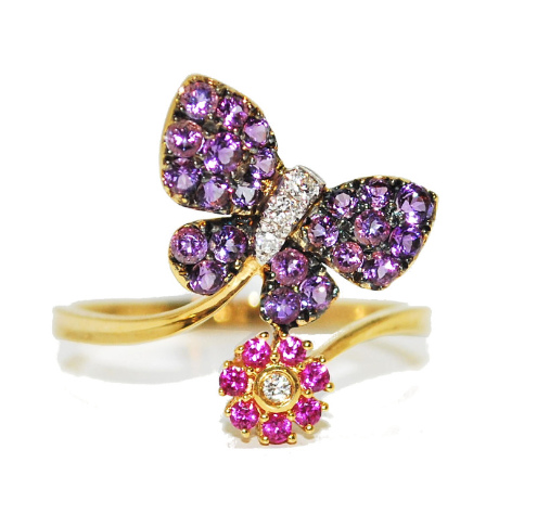 quirky butterfly gemstone engagement ring
