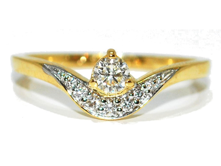 Unusual curve diamond enagagement ring in yellow gold, wave design, unique design