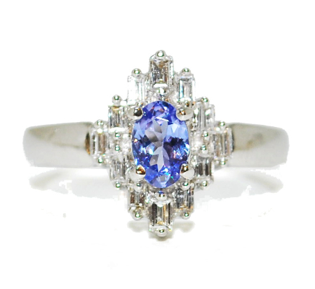 Vintage style tanzanite gemstone and diamond engagement ring