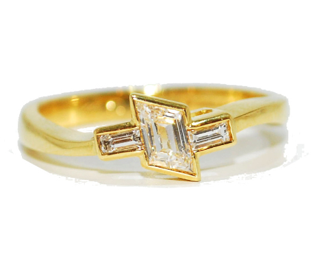 Unusual, asymmetrical yellow gold contemporary diamond enagagement ring