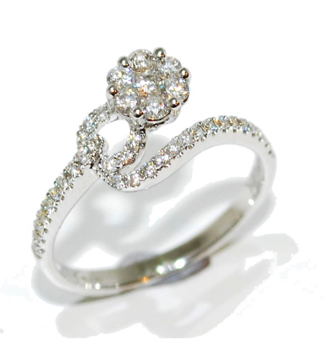 fleur diamond enagagement ring - flower design