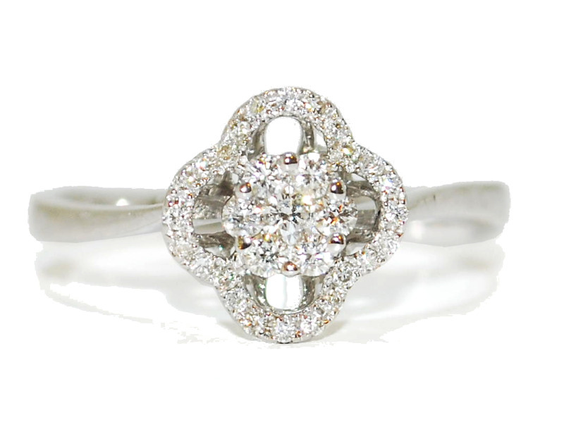 vintage diamond flower engagement ring - white gold