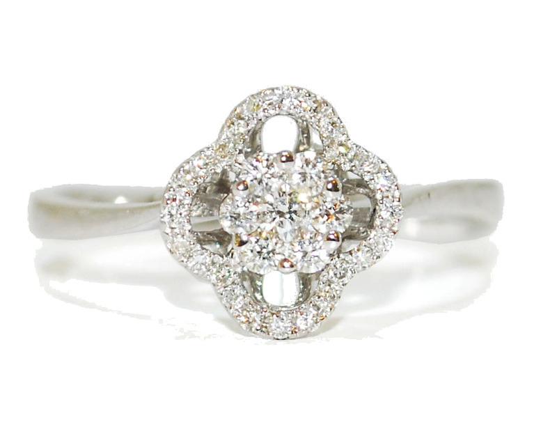 vintage diamond flower engagement ring - white gold