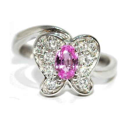 quirky pink sapphire gemstone and diamond butterfly engagement ring, white gold
