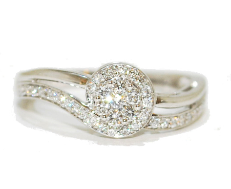 contemporary curve diamond engagement ring, white gold with wave detail