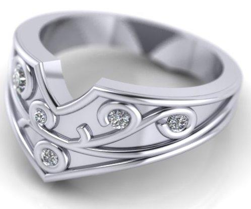 handmade wedding ring with diamonds
