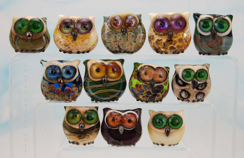 large group of owls