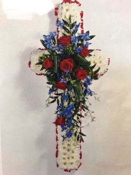 White massed cross with Red and Blue Spray 3ft