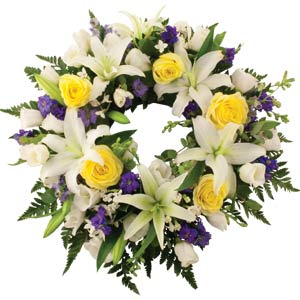 Yellow, Blue & White Wreath