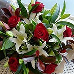 Red Rose & Lily Bouquet.