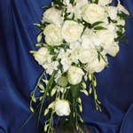 Elegant, Shower Shape Bouquet, Roses and Orchids.